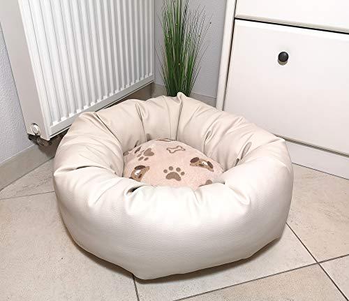 Hundebett Kunstleder rund mit Fleecekissen, pflegeleicht, verschiedene Größen, Hundekorb, Hundekörbchen