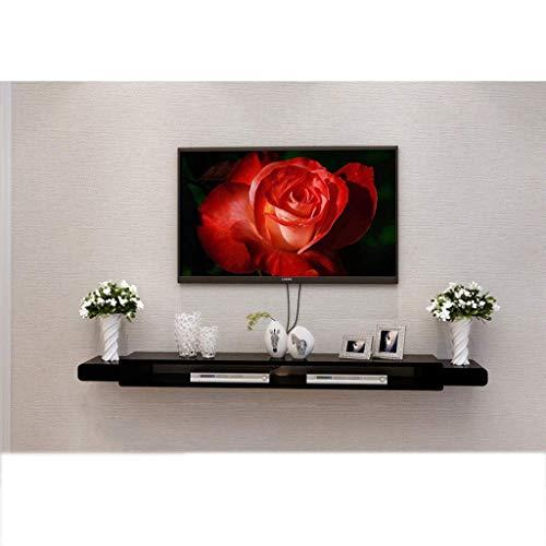 Mueble de pared de pared flotante negro TV Conjunto de soporte TV Caja superior Estante TV Consola Unidad de almacenamiento Unidad de almacenamiento Estante del organizador para caja de cable DVD