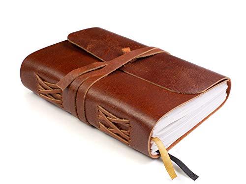 Taccuino rilegato in pelle - pagine vuote - taccuino da scrittura in vera pelle fatto a mano - è un ottimo regalo per scrittori, poeti e viaggiatori, 18x13cm pollici