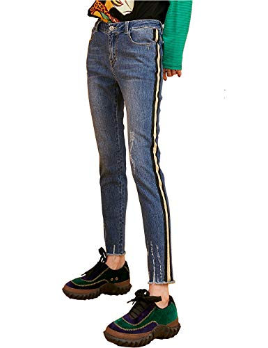 ELFSACK Slim Solid jeansbroek voor dames, met glanzende lijnen denim, potlood, broek, skinny pantalon