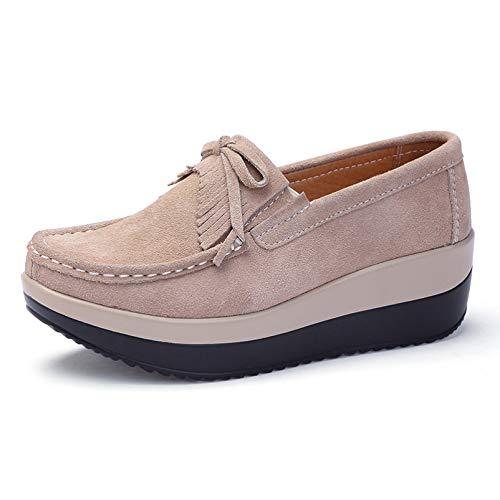 Zapatos de cuña para Mujer, Estilo británico, Gamuza, Borla, Pajarita, Antideslizante, Suela Gruesa, Zapatos para Caminar Diariamente, Zapatos Casuales de Oficina para Mujer