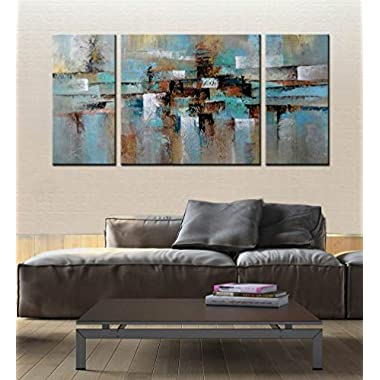 ARTLAND Hand-painted Abstract Tone Oil Painting on Canvas Gallery-wrapped Wall Art Deco Home Decoration Modern Abstract Painting on Canvas 24x48inches