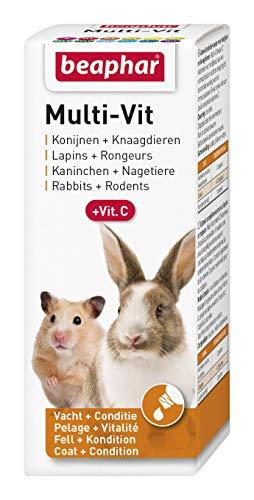 BEAPHAR – Multi-Vit, 12 vitamines pour lapin et rongeur – Contient 11 vitamines + Vitamine C – Renforce le système immunitaire – Action bénéfique sur les dents & les os – Vitalité & Bien-être – 50 ml