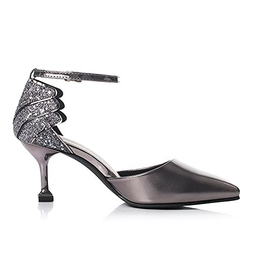Modesandalen mit Stiletto-Ferse und spitzer Zehe hohle Rücksack, ein Wortschnalle-Sandalen mit Weinglas-Ferse-Sekt_3