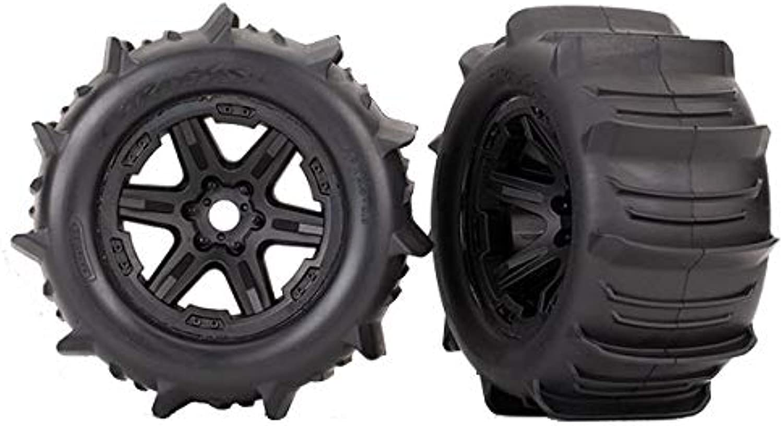 TRAXXAS Tires & wheels, assembled (black, Talon EXT tires) (2) (17mm (TRX8672)