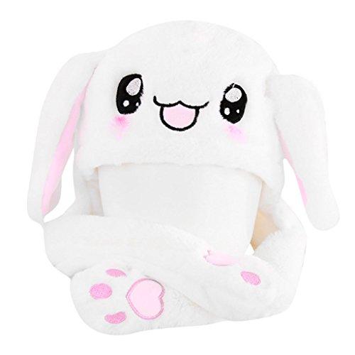 only y y Hasenohren Plüschhut – Plüsch-Hut aus Kaninchenfell, interaktiv, riesiger Plüsch mit den Ohren, durch Drücken der Pfoten