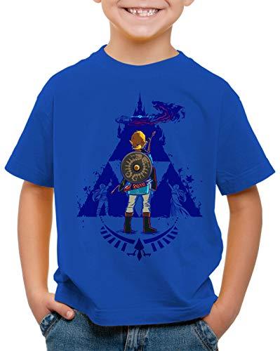 A.N.T. Breath Link Blue T-Shirt für Kinder Hyrule Gamer, Farbe:Blau, Größe:116