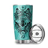 Xuanwuyi Wolf Dream Catcher 3D stampato Vaccuum-isolato superiore in acciaio inox thermos tazza da caffè per marito moglie bianco 600 ml