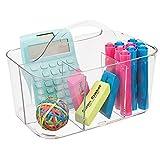 mDesign Organizador de escritorio transportable – Caja organizadora para material de oficina: clips, tijeras, lápices, gomas - Transparente