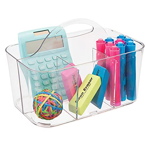 mDesign tragbarer Organizer – Durchsichtiger Aufbewahrungskorb mit Fächern – Bastelsachen und Bürobedarf – Aufbewahrung für Knöpfe, Scheren, Stifte – Farbe: Transparent