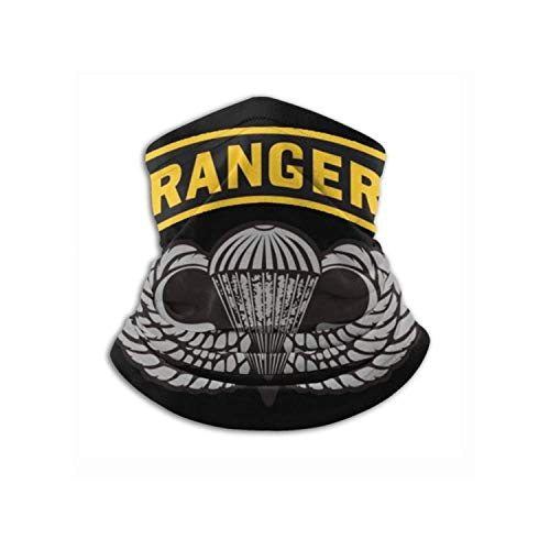 Us Army Ranger Tab with Airborne Wings Bandana Face Mask Warmer Neck Tube for Dust Wind Sun Protection Face Mask-Black-One Size-Black-with 2pcs Filters Made In USA