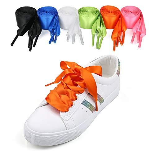 6 Paar Satin Schnürsenkel Breite Flache Shoelaces für Damen,Mädchen, Kinder und Erwachsene Wasserdichte Sportlauf Schnürsenkel Sneaker Stiefel Trainers Satin Flachsenkel für Sportschuhe