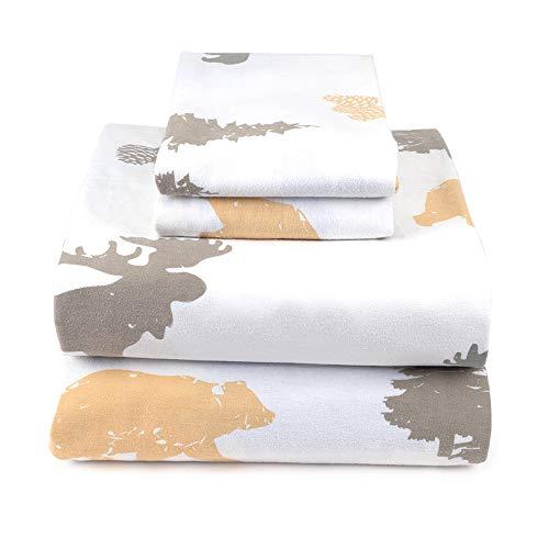 JumpOff Jo Queen Flannel Sheet Set - Flat Sheet, Fitted Sheet, 2 Pillow Cases - Woodland