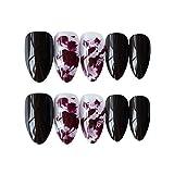 Qulin uñas postizas de resina japonesa con un tubo de pegamento acabado manicura de uñas 24 piezas/set