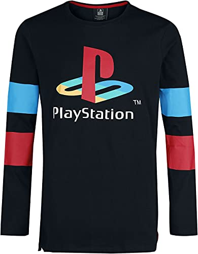 Playstation Retro Männer Langarmshirt schwarz S 100% Baumwolle Fan-Merch, Gaming, Retrogaming