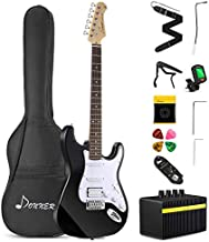 Donner DST-102B Solid Body 39 Inch Full Size Electric Guitar Kit Black, Beginner Starter, with Amplifier, Bag, Capo, Strap, String, Tuner, Cable, Picks