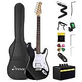 Donner Kit de guitarra eléctrica de tamaño completo de 39 pulgadas con amplificador, bolsa, capo, correa, cuerda, sintonizador, cable y púas (Negro, DST-1B)