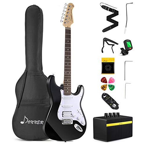 Donner DST-102B 39 Inch Electric Guitar Beginner Kit Solid Body Full Size Black HSS for Starter, with Amplifier, Bag, Digital Tuner, Capo, Strap, String,Cable, Picks