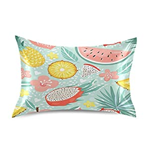 YKMustwin Satin Pillowcase for Hair and Skin Silk Pillowcase Standard Size Summer Tropical Fruit Pineapple Flowers Pattern Pillow Cases Cooling Satin Pillow Covers with Envelope Closure