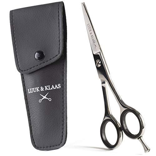 LUUK&KLAAS Haarschneideschere/Profi Friseurschere – extra scharfe Edelstahl Haarschere – geeignet als Stufenschere und Anfängerschere zum Haare selber schneiden