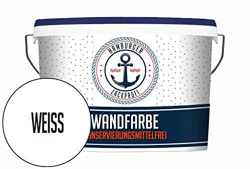 Hanse Wandfarbe KONSERVIERUNGSMITTELFREI weiß matt Innenfarbe Dispersionsfarbe HOCHDECKEND & GERUCHSARM (2,5 L)