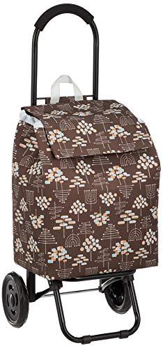 ウノフク CHARMISS ショッピングカート 北欧柄 15-5018 ダークブラウン 本体:約w32×h42×d21cm、外寸:約w34×h85×d30cm
