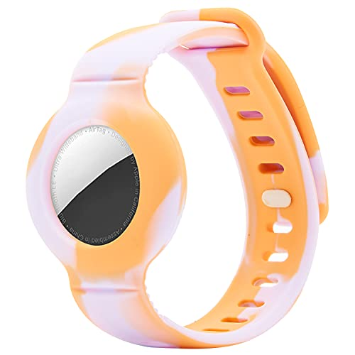 Protective Case with Watch Band Compatible for Apple AirTag, Silicone GPS Tracking Strap of Air Tag Case Locator Cover, Anti-Lost Wristband for Toddler Baby Kid Children Old Man(Tie Dye Orange)