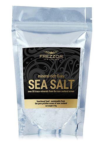 FREZZOR MINERAL-RICH FLAKY SEA SALT, Made in New Zealand, Kosher Flakes, Premium Gourmet, Unprocessed, 84 Minerals & Trace Elements, 100% All-Natural, Solar & Wind Harvested, Lab Certified, 7.4 Ounces