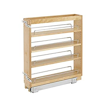 Rev-A-Shelf 448-BC-5C 5-Inch Base Cabinet Pullout Storage Organizer with Adjustable Wood Shelves and Chrome Rails