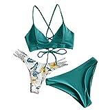 Bikinis Mujer 2020 Push up con Relleno Bikini Bandeau para Mujer Sujetador Relleno de Tres Piezas Traje de baño Tops y Braguitas Ropa de Playa Vikinis riou