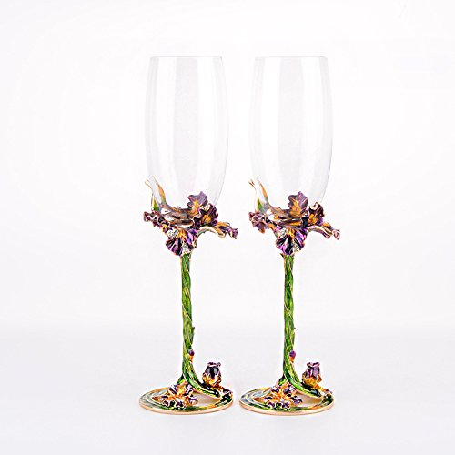 SUQ I OME Champagne Glasses Set of 2, Hand Blown Enamel Wine Glasses Made of Lead-free Glass and Enamels, Gifts for Woman,Christmas,Valentine Day, Birthday, Wedding,Green Iris