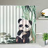 Cartoon Tiere Panda Duschvorhang 3D Print Bad Display Kinder Babyzimmer Badezimmer Gardinen Wasserdichtes Gewebe Mit Haken Geschenke