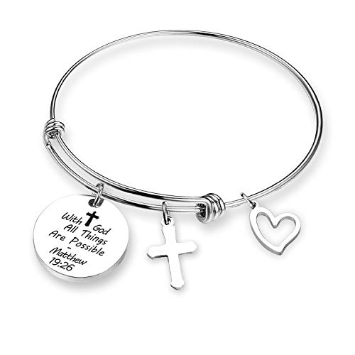 G-Ahora Christian Gift with God All Things are Possible Faith Bracelet Religious Jewelry Cross Bracelets for Women Baptism Gift(BR-Withgod) (BR-with god)