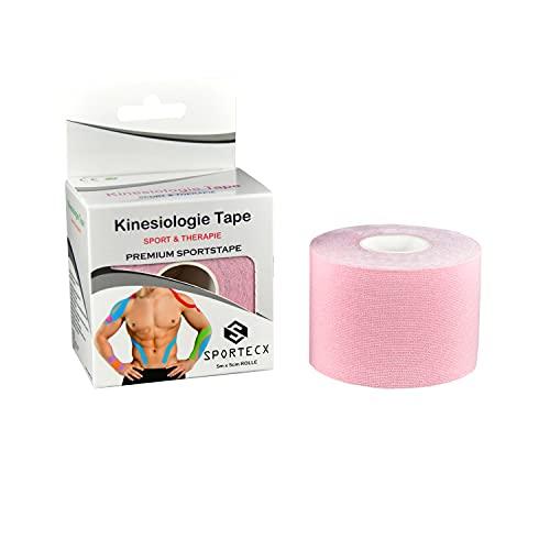 SPORTECX Kinesiologie Tape | Premium Sporttape für Sport & Therapie | Wasserfest & extra langer halt | Kinesio Tape für die Unterstützung der Muskel und Gelenke (Baby Rosa)