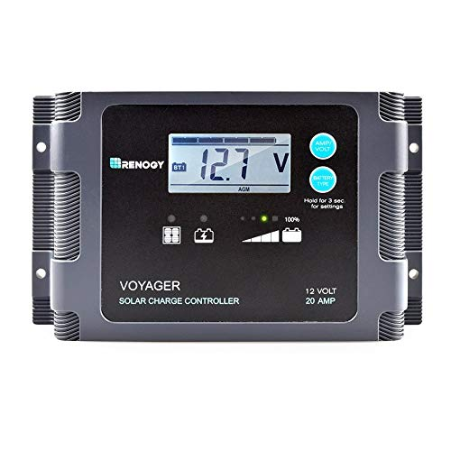 Renogy Voyager 20A Negative-Ground PWM Waterproof Solar Charge Controller, with LCD Display and LED Bar