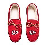 FOCO Football Mens Team Color Big Logo Moccasin Slippers Shoe - Pick Team (Large 11-12, Kansas City Chiefs)