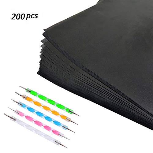 iSuperb 100pcs Carbon Transferpapier Blätter Carbon Papier 5 Pcs Embossing Stylus Kohlepapier Pauspapier für Holz Papier Segeltuch (33 * 23CM 200pcs)