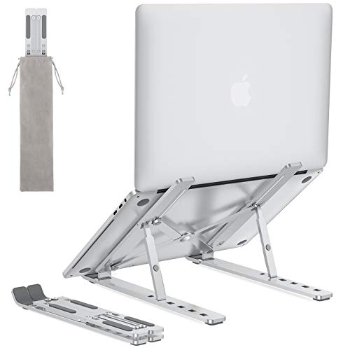 Portable Laptop Stand for Desk - OMOTON LA02 Adjustable Foldable Aluminum Laptop Holder Riser, Compatible with MacBook Air, MacBook Pro, HP, Dell, Lenovo and More (Up to 15.6''), Silver