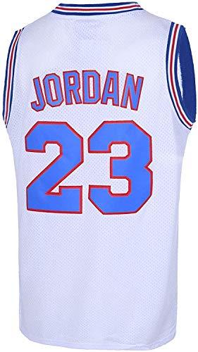 Men's 23 Space Jam Movie Jersey Tune Squad Basketball Jersey S-XXXL White/Black Stitched (23#White, S)