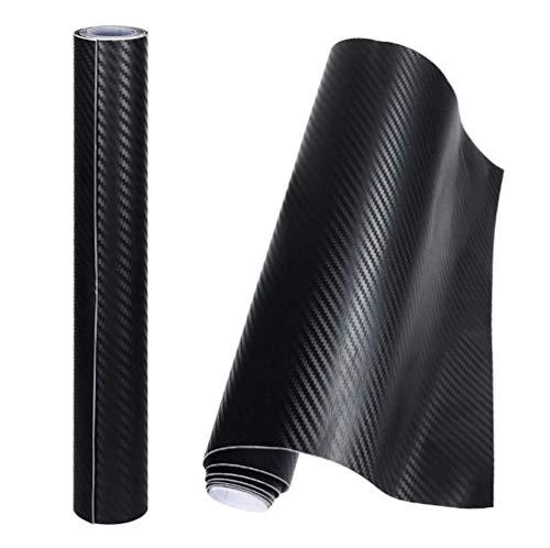 Geagodelia 6D Film Autocollant Adhésif Vinyle en Fibre de Carbone Film Protection Auto pour Voiture Ordinateur Moto (Noir 3D, 30 * 152cm)