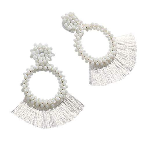 Fenverk Damen Twist Schmuck Set Ohrringe Halskette Silber Haken Ohrhänger Ohrring Allergiefrei Hochzeit Verlobung Partz Schmuck Passt Abendkleid(Weiß)