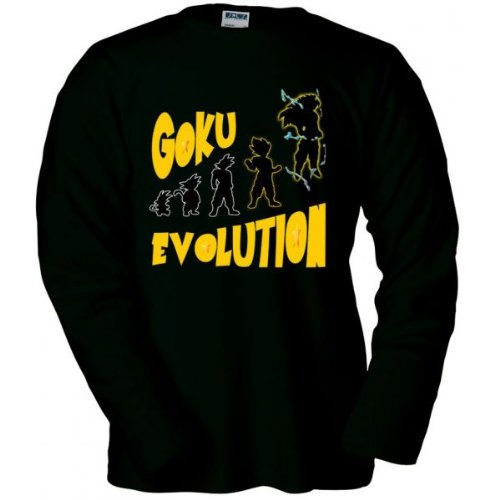 Mx Games Camiseta Goku Evolution Manga Larga Negra (Talla: Talla-XL)
