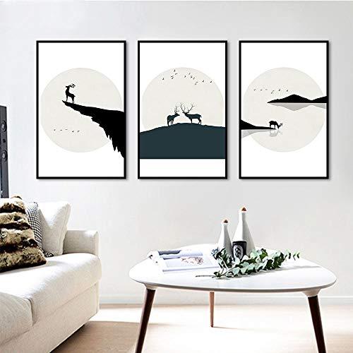SDFSD Imagen en Blanco y Negro Paisaje Simple Dibujos Animados Lonely Deer Buck Nursery Kids Room Decor Posters Arte de la Pared Pintura de la Lona 30 * 40cm