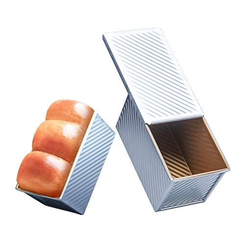 OJelay Bread Loaf Pan Nonstick Corrugated Aluminum Toast Mold Homemade Pullman Bread Pan with Lid