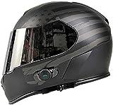 Bluetooth integrado cascos de motocicleta, anti-vaho tirón encima del casco integral casco de la motocicleta de doble lente aprobado por el DOT transpirable Forro extraíble Vent Motocross Cascos L = 5