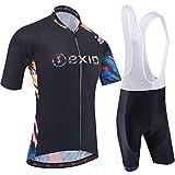 BXIO Conjuntos de Ciclismo para Hombre Jerseys de Ciclismo Transpirables y Acuarelas 5D Gel Pad Culotte con Babero Quich-Dry MTB Bike Wear Manga Corta 212 (Black Water-Colorful(212,Bib Shorts), 3XL)