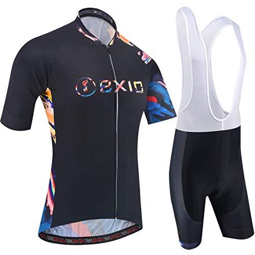 BXIO Mens Cycling Sets Breathable Watercolorful Cycling Jerseys 5D Gel Pad Bib Shorts Quich-Dry MTB Bike Wear Short Sleeve 212 (Black Water-Colorful(212,Bib Shorts), 2XL)