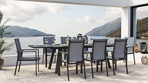 ARTELIA Lilo XL Gartenmöbel Essgruppe Aluminium für 8 Personen - Luxus Riesen Esstisch Set für Garten, Terrasse mit Auszugtisch, Alu Gartenmöbelset Anthrazit