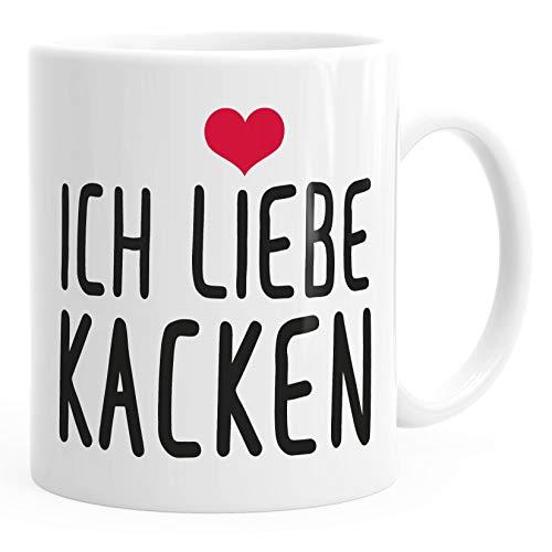 Spruch-Tasse Ich liebe kacken Kaffeetasse Teetasse MoonWorks® weiß unisize