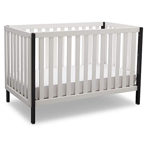 Delta Children Milo 3-in-1 Convertible Baby Crib, Bianca White with Black